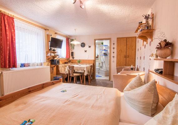 Einen kombinierten Wohn-und Schlafraum mit Doppelbett, sowie einer gemütlichen Eckbank mit Tisch und Stühlen.