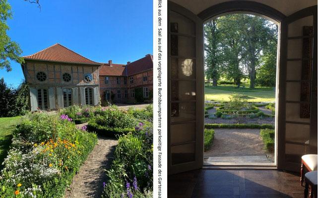 Blick auf Ostflügel und aus dem Gartensaal hinaus
