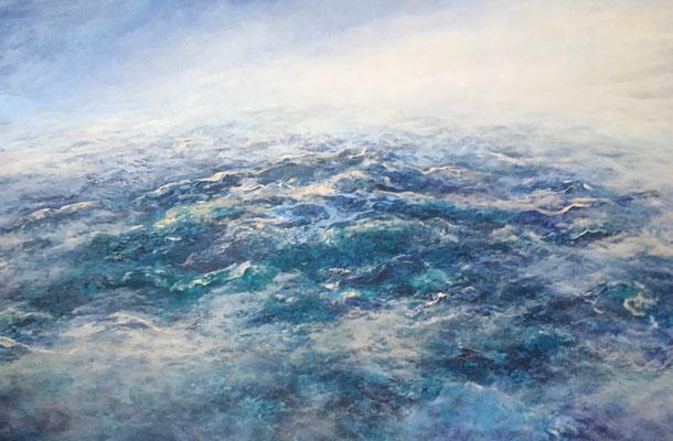 Flying High V, 2019, Acryl auf Leinwand, 90x160 cm, verkauft,  in Privatbesitz