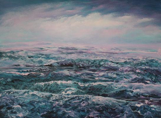Coloured Sea, 2020, Acryl auf Leinwand, 80x100 cm