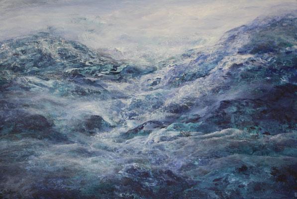 Mountains Blue, 2020, Acryl auf Leinwand, 80x100 cm