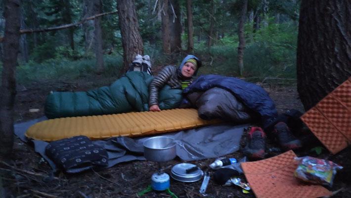 Cowboycamping - so konnten wir bereits um 6:30 Uhr loskommen. Rekord!