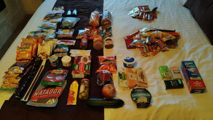 Essen für ca. 8 Tage, 140 Dollar