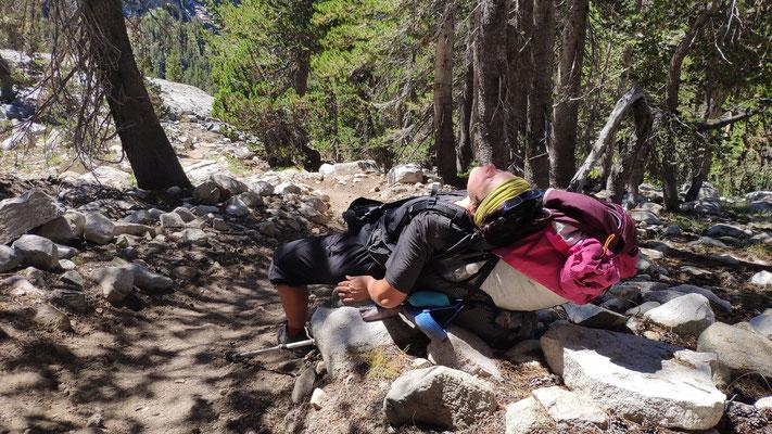 Kurze Verschnaufpause. Die Sierra ist extrem anstrengend!