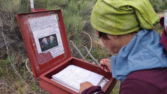 Trailregister kurz vor Tehachapi/Mojave