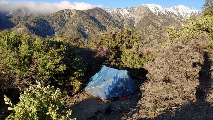 Unser Zeltplatz am morgen (6:30 Uhr)