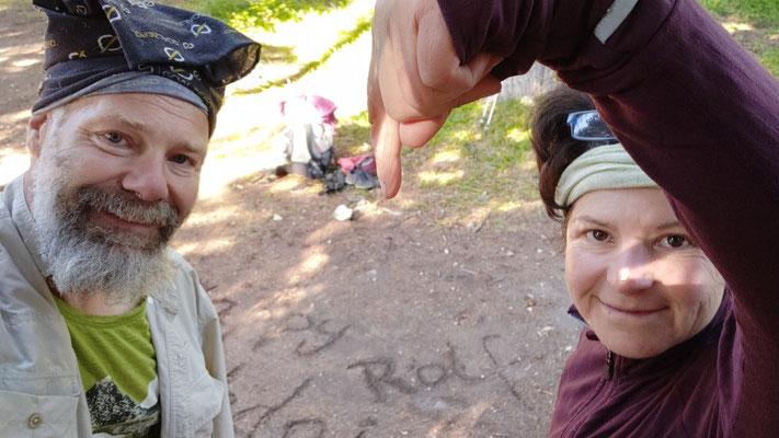 Geburtstagsgrüße an Freund Rolf - in den Sand geschrieben