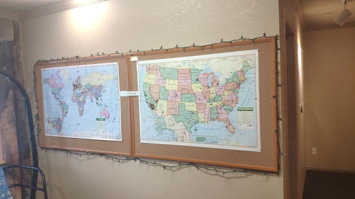 Im Visitor Center kann man sehen, aus welchen Ländern die Hiker kommen