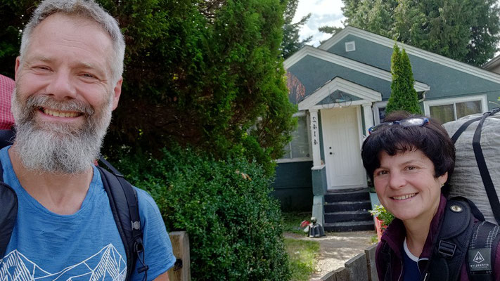 Losgehselfie in East Vancouver, vor unserer Airbnb- Unterkunft