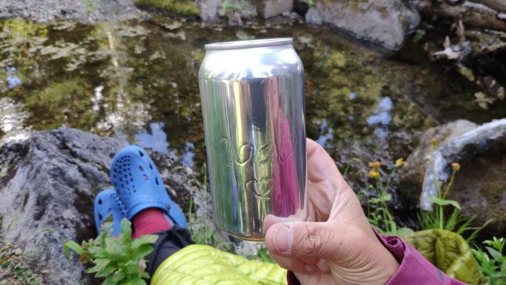 Meilenstein auf der Bierdose vom Bierbrauer aus White Pass: 2000 km!
