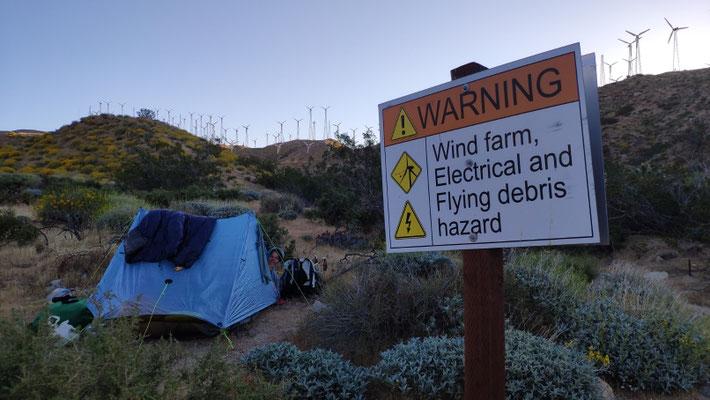 Mesa Wind Farm, unser Zeltplatz