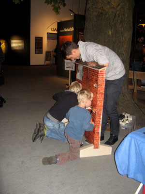 Kinder erfahren spielerisch, wie die AG Fledertierschutz Fledermäuse mit Hilfe von Spiegeln und Taschenlampe in engen Spalten von Gebäuden, Nisthilfen oder Winterquartieren finden kann
