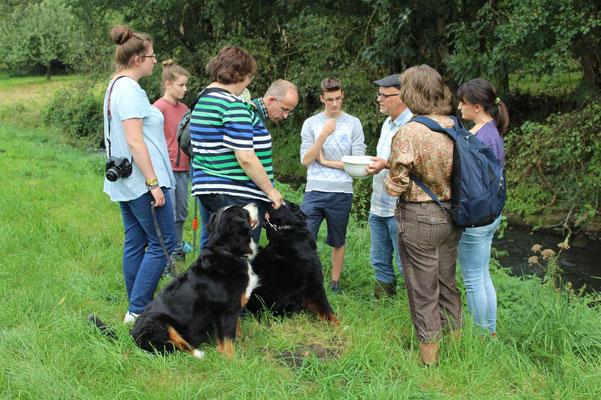 Thomas Hövelmann (mit Schüssel) erläutert den Teilnehmern der  Wasserpflanzen-Exkursion an der Münsterschen Aa die gefundenen Arten
