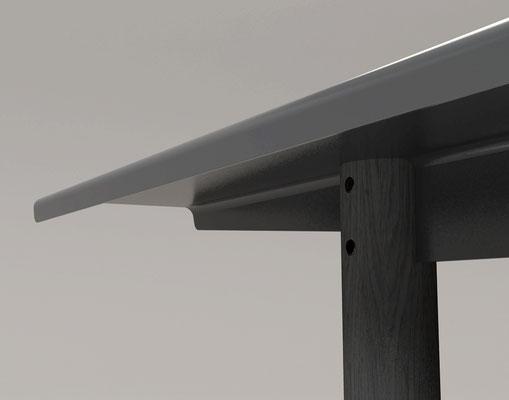 """Table """"outdoor"""" plateau métal et piétement en mélèze. détail d'assemblage. Pierre Dubourg 2015"""