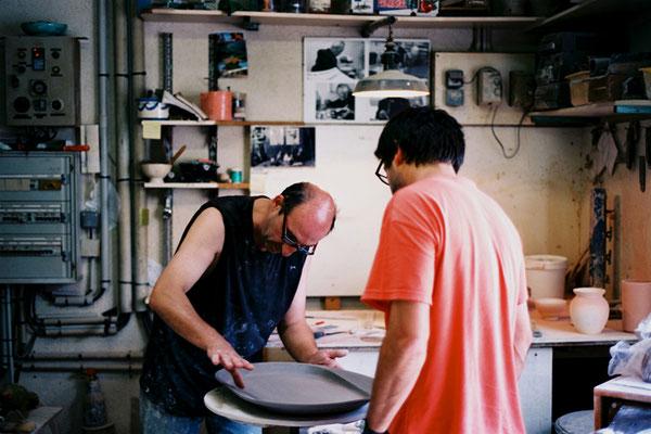 Atelier de Gérard Crociani à Vallauris. Photo: Charles Seuleusian. Pierre Dubourg 2014