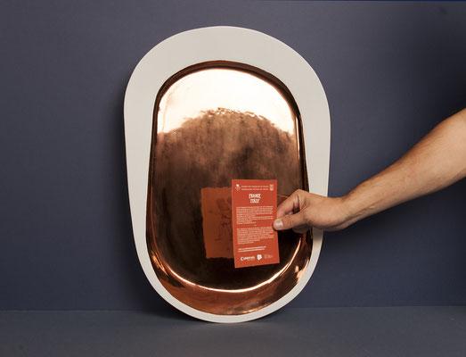 Miroir Keirin en céramique et  émail cuivré.  Photo: Charles Seuleusian. Pierre Dubourg 2014