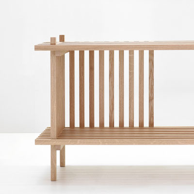 Détail meuble bas en tasseaux de chêne massif, Pierre Dubourg 2018