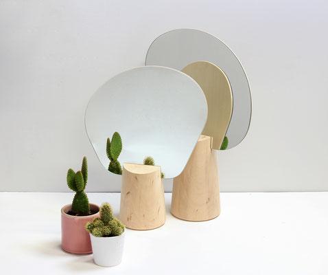 Set de 2 miroirs Ping Pong en tilleul. Pierre Dubourg 2012
