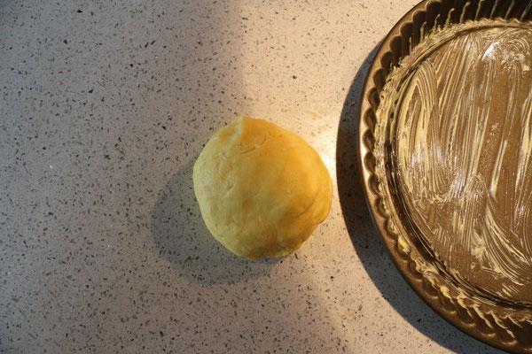 mehl, backpulver, zucker, butter, ei, prise salz – miteinander verrühren und