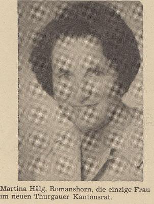 Martina Hälg einzige Frau TG Kantonsrat