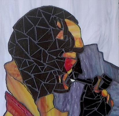 Mosaik Tiffanyglass Nikos Kazantzakis, 30 x 30 cm