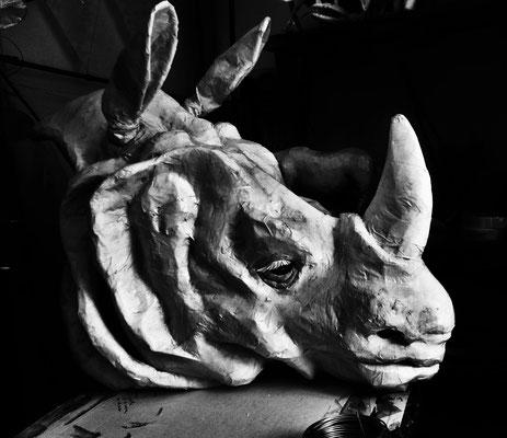 Tête Rhinocéros de papier- 90/70/40cm