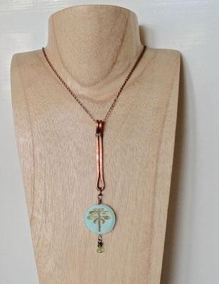 Böhmische Picasso-Perle, Peridot, Kupfer
