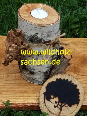 Birkenstücke naturell als Leuchter   -   jedes Stück ein Unikat