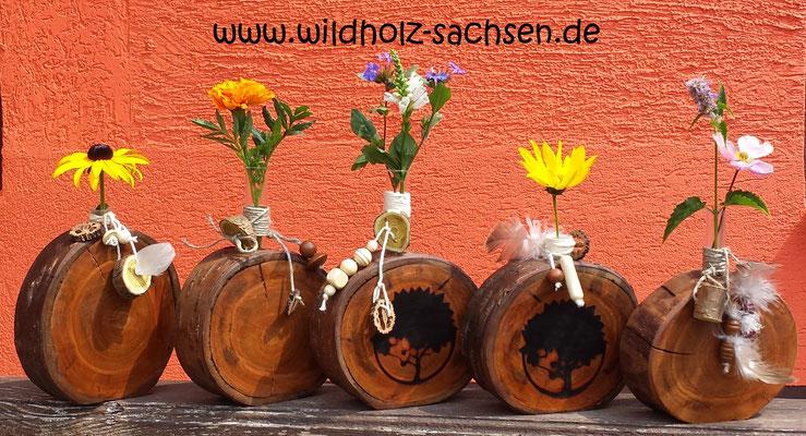Baumscheiben Vasen aus Kirschholz