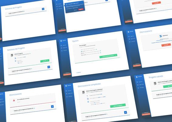 WebSite X5 Optimizer, studio UX e UI per applicazione desktop di ottimizzazione progetti