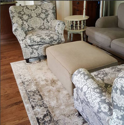 Slipcovered chairs using Magnolia home collection fabric