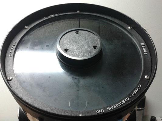Völlig von innen verschimmelte Schmittplatte eines Meade SC Teleskopes