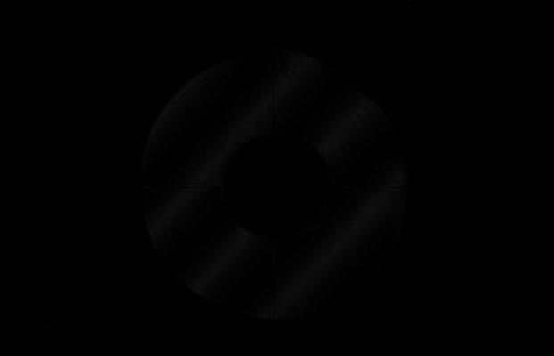 """Ronchitest eines 12"""" f/4 """"red-dwarf"""" im Gesamtsystem. Gitter mit 10 Linien pro Millimeter."""
