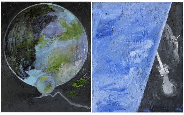 MATRIX, 2009, diptych, oil on canvas, 61 x 50 cm each