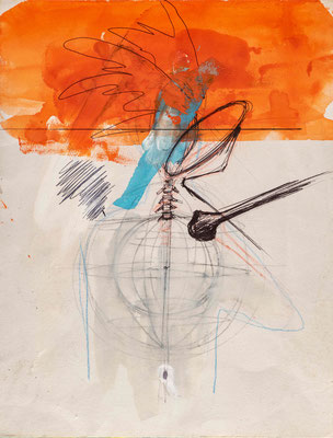 THE BLUE ONE, 2008, technique mixte sur papier, 33 x 25 cm