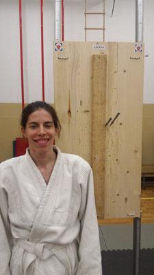 Silvia assieme ad uno dei suoi primi lanci.