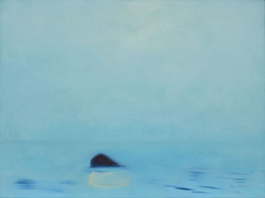 """""""Stein im Nebel"""" Öl auf Leinw. 60x80"""