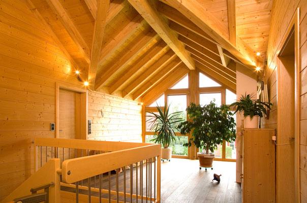 Neubau eines NaturPlusHauses - Sichtdachstuhl
