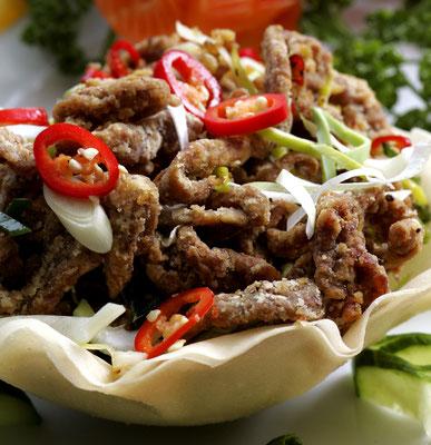 Crispy beef in Szechwan pepper