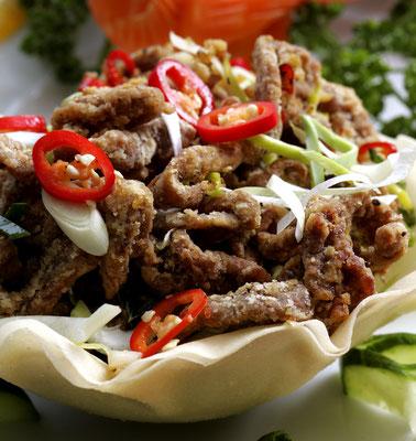 Knuspriges Rindfleisch mit Szechuan Pfeffer
