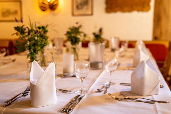 Gedeckter Tisch im Gasthaus Stevertal Nottuln