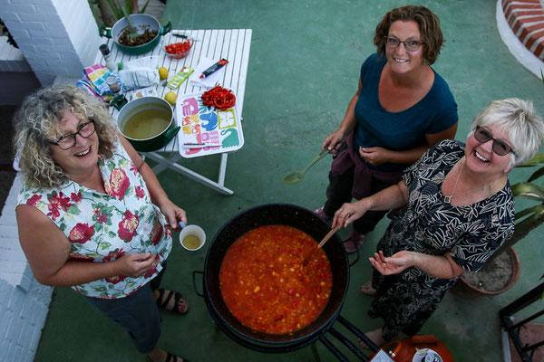 "Making Paella together - aka ""The Paella Witches""!"