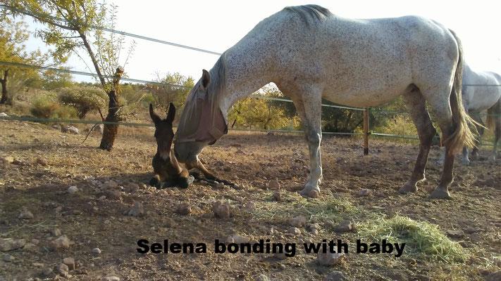 Selena bonding with baby
