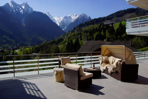apartment Zimbablick, Brandnertal (Vorarlberg), sout-west terrace with sauna