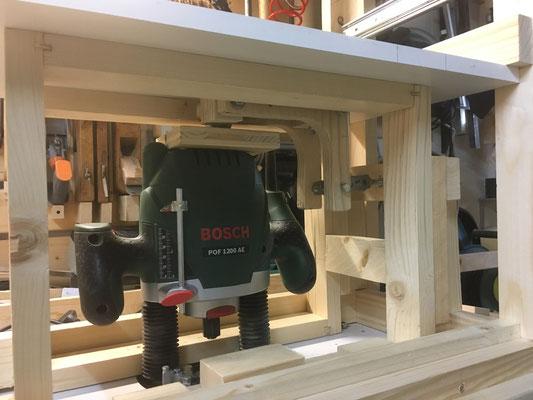 Konstruktion Oberfräse für Untertisch Oberfräsen-Rolli