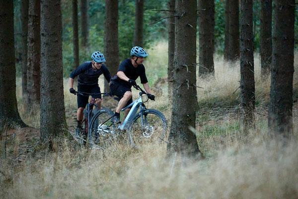 Zwei Männer auf dem Giant Fathom E+ im Wald