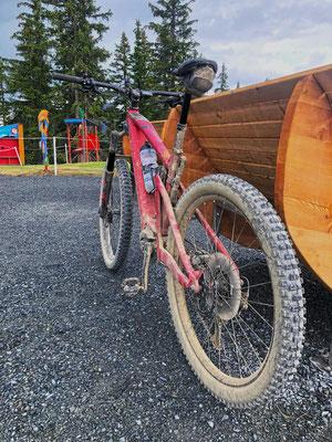 Breitstollige Reifen geben dem Sam² ausreichend Grip im Bikepark.
