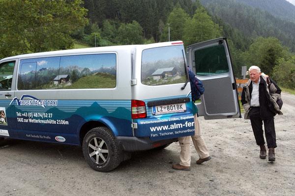 Mit dem Taxi gings rauf zur Wetterkreuzhütte, so spart man 1000 hm und 3 Stunden Gehzeit!