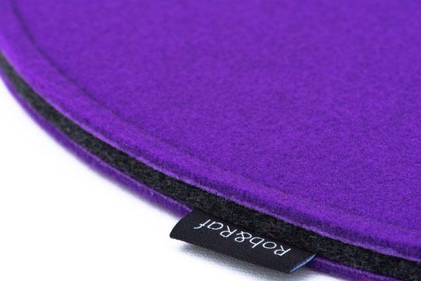 Rob&Raf Designer Sitzkissen Sitzunterlage aus Polyester Filz in Violett, Rund mit Label