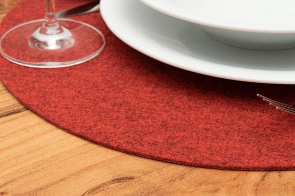 Rob&Raf Designer Tischset Platzset aus Polyester Filz in Melange Rot, Rund mit Geschirr